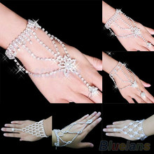Bridal Wedding Crystal Rhinestone Slave Bracelet Wristband Harness Cuff 06WQ(China)