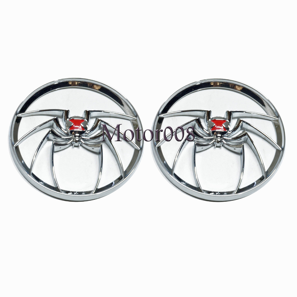 Pair 4 1/2 inch Chrome Widow Spider Speaker Trim Grill