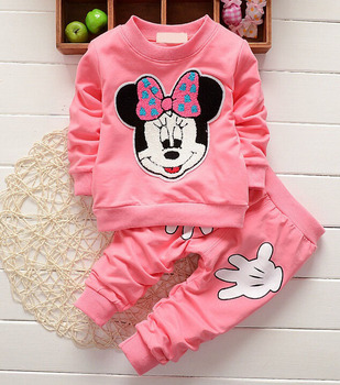 2019 Newborn Baby Girls Clothes Set Cartoon Long Sleeved Tops + Pants 2PCS Outfits Kids Bebes Clothing Childrens Jogging Suits 2