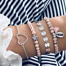 Cuteeco 4pcs/set Bohemian Beach Pink Beads Bracelets Bangles For Women Heart Shell Turtle Charm Sets Jewelry Gifts