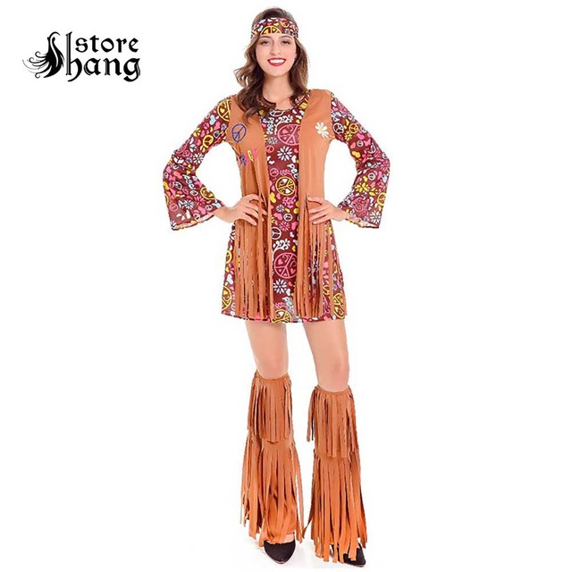 Adult 60s Groovy Hippie Costume Flower Power Disco Ladies 70s Diva Fancy Dress Outfit Halloween Costumes For Women
