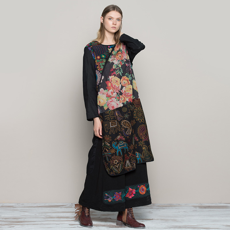 Jiqiuguer Women Print Patchwork O neck Pullover 100% Linen Winter Loose Dresses Black Floral Embroidery Plus Vestidos G173Y047-in Dresses from Women's Clothing    2