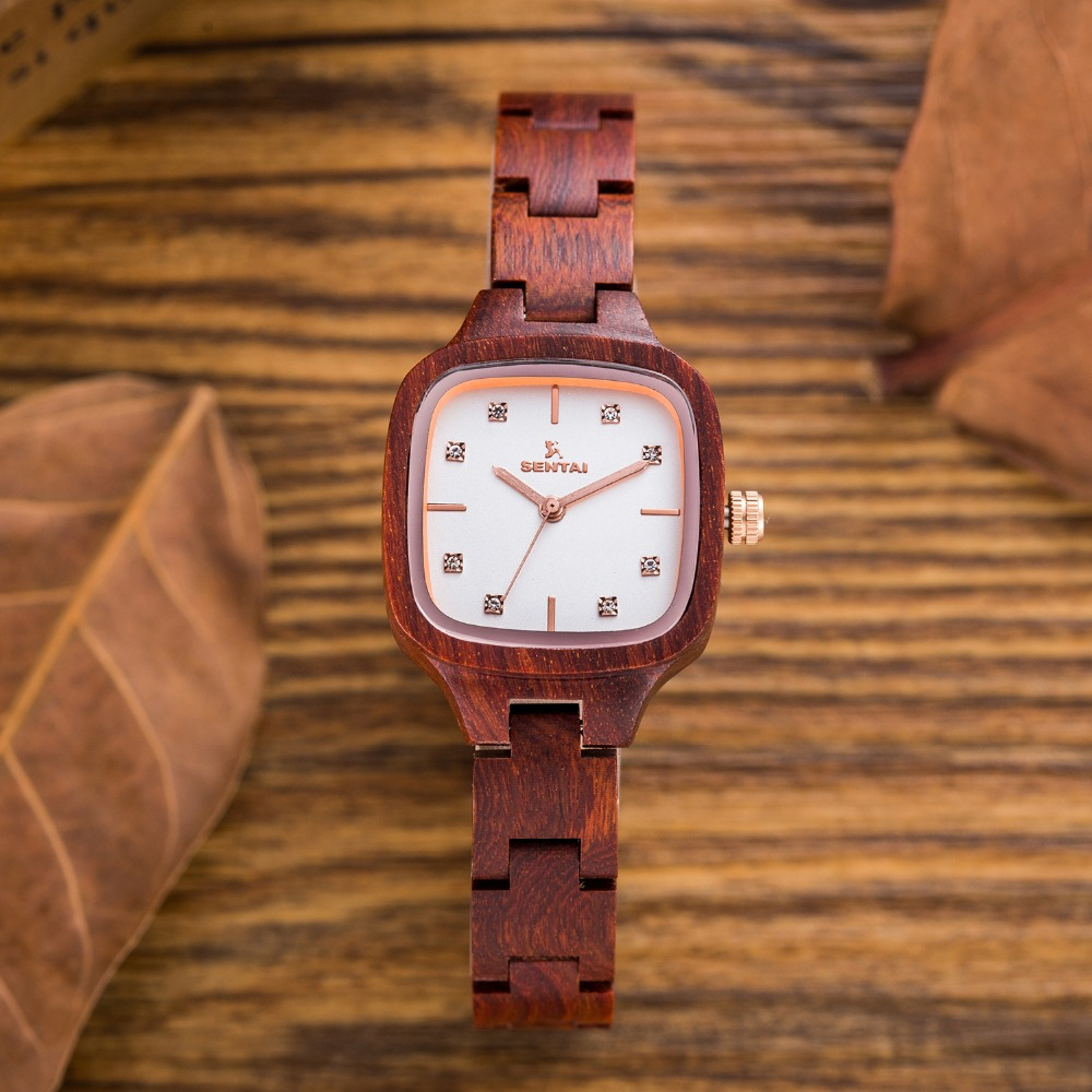 Natural Fashion Women's Wood Watches Ladies Unique Crystal Design Japan Movement Quartz Women Wooden Wrist Watch Gift for Her