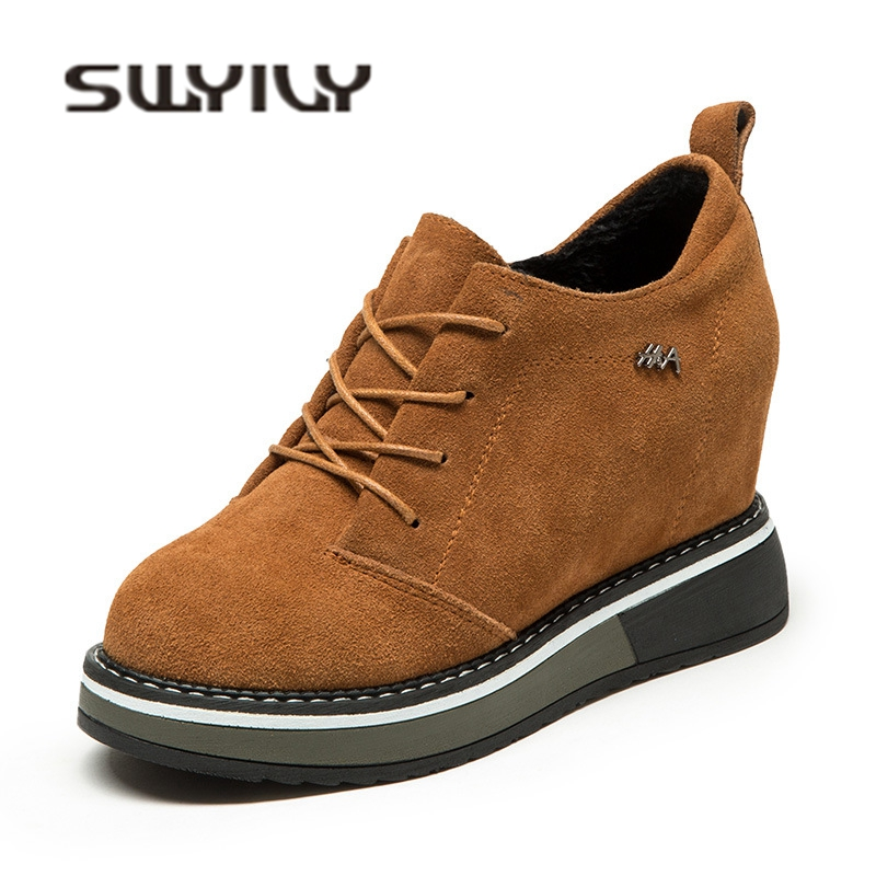 SWYIVY Woman Platform Sneakers Natural Leather Woman Autumn New Female Comfortable Casual Shoes Increased Wedge Sneakers Velvet