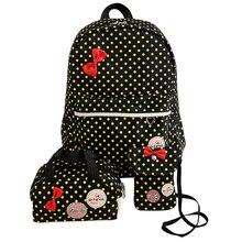 3 шт. Новый Meninas молодежный рюкзак девочка-подросток школы нейлоновая сумка для путешествий с принтом в горошек Crossbody сумка для ноутбука Voyage Sacs Рюкзак Mochila