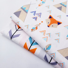 Soft Concise Cute Fox Printed 100% Cotton Twill Fabric Breathable For DIY Quilting Sewing Crafts Cloth 160CM