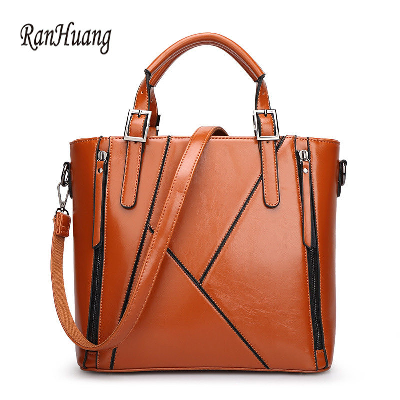 ФОТО RanHuang 2017 Women PU Leather Handbags Fashion Shoulder Bag Ladies Elegant Messenger Bags Brown Black Bolsa Feminina A140