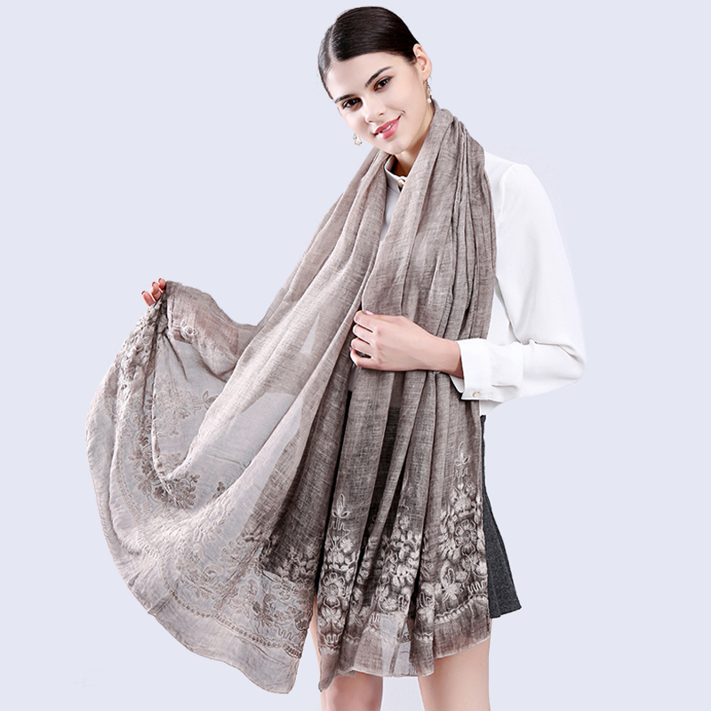 Vintage Ethical Style Floral Embroidery Scarf And Wrap For Women Chinese Brand Designer New Fashion 200*90 Cm Retro Beach Shawl
