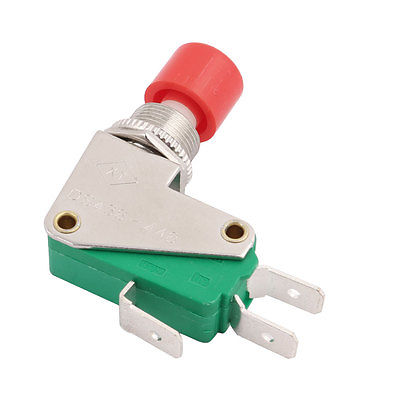 Uxcell 220-250V 3 Amp Green Top SPDT Non Locking Momentary 3 Terminals Button Switch