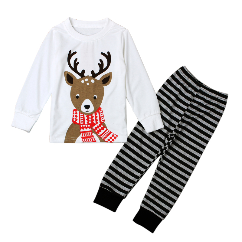 US Toddler Baby Girl Outfit Christmas Deer T-Shirt Top+Leopard Pants Clothes Set