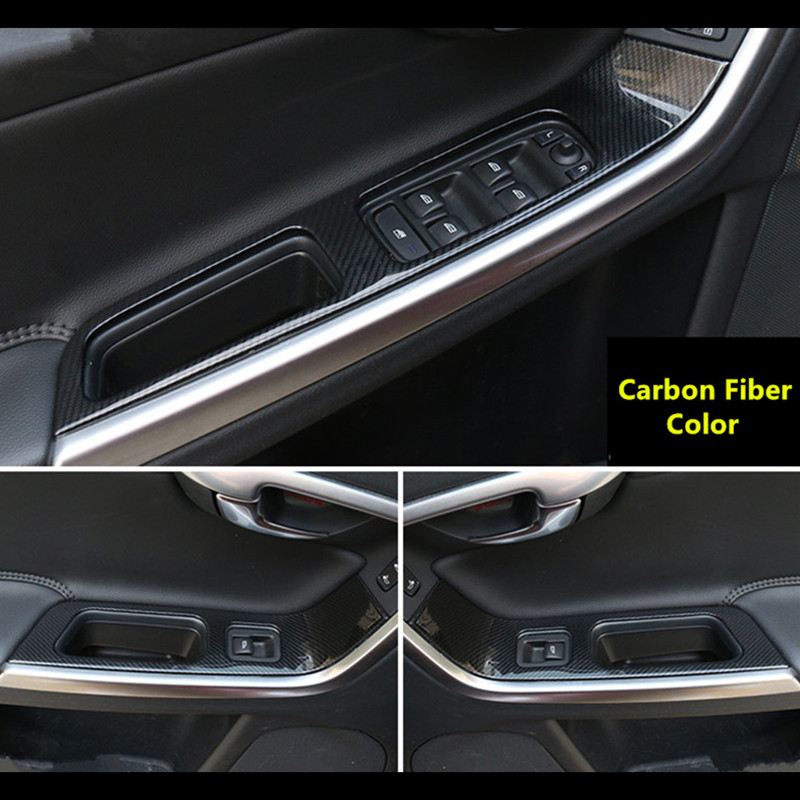 CNORICARC Stainless Steel Door Armrest Glass Lifter Button Panel Decorative Cover For Volvo XC60 S60 V60