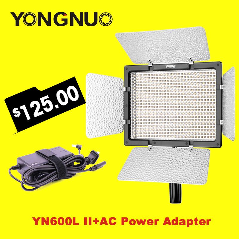 Prix pour Yongnuo YN600L II 3200 K-5500 K LED Vidéo Lumière + Faucon Yeux AC Adaptateur Ensemble Soutien Télécommande par Téléphone App pour entrevue