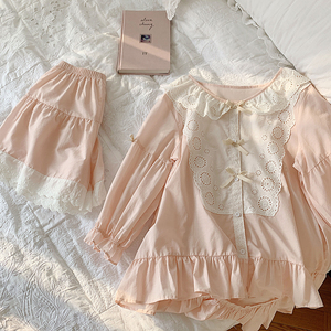 Image 5 - Vrouwen Lolita Prinses Kant Pyjama Sets Katoen Tops + Shorts.Vintage Dames Meisje Kant Pyjama Set. Zomer Nachtkleding Loungewear