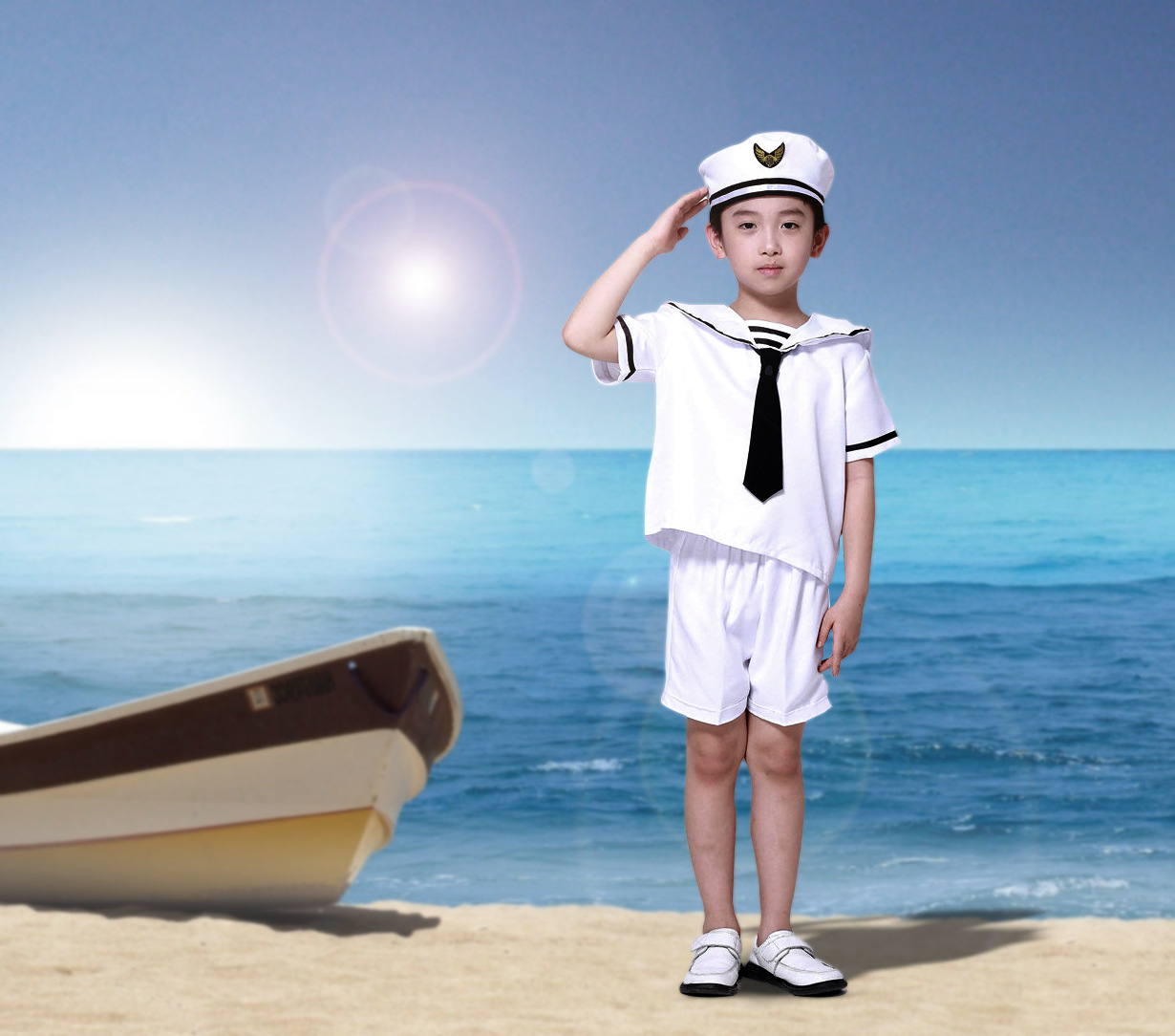 цена Spring Kids Clothes Marine Navy Sailor Boys Sport set Girl skirt Navy Short Sleeve Pullover Striped Sports Suit Hot Sale онлайн в 2017 году