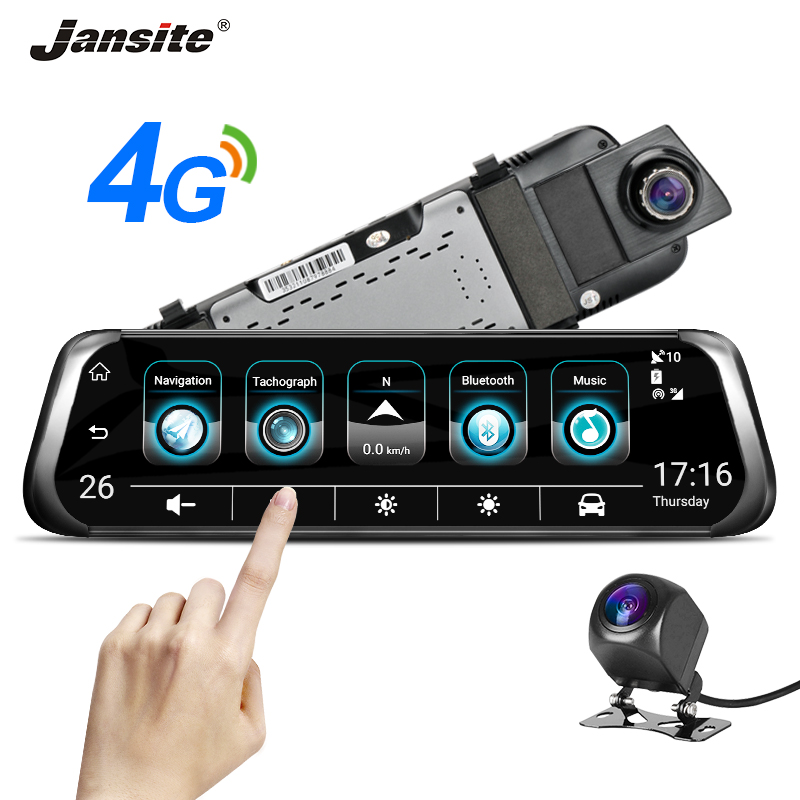 Jansite 10 4G 3G Touch Screen Car Dash camera Android 5.1 GPS Navigation ADAS Video Recorder Rearview mirror with Backup camera