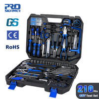 Prostormer 210 Pcs DIY Household Woodworking Hand Tools Set Kit With Car Repair Socket Wrench Screwdriver Tool with Storage Tool
