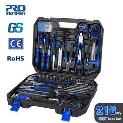Prostormer 210 pçs diy conjunto de ferramentas manuais para trabalhar madeira do agregado familiar kit com ferramenta de reparo do carro chave soquete chave de fenda com ferramenta de armazenamento