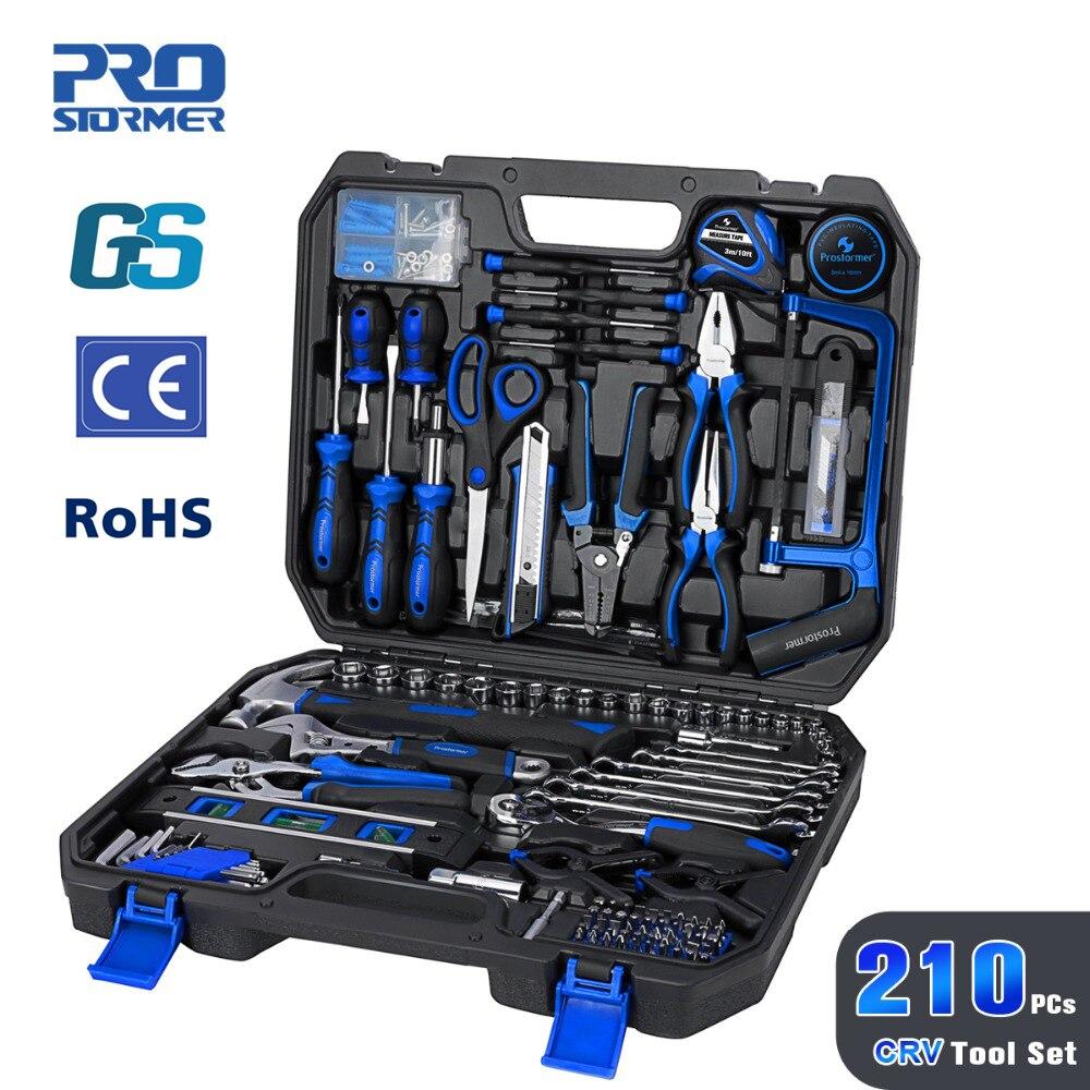 Prostormer 210 pièces bricolage ménage menuiserie outils à main ensemble Kit avec voiture réparation clé à douille tournevis outil avec outil de stockage