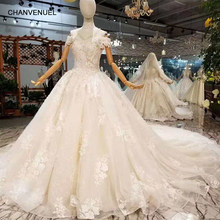 LSS212 wedding dresses with collar chain off the shoulder sweetheart bride dress with royal train wholesalers get extra discount(China)