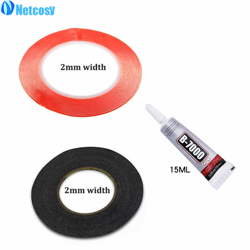 Netcosy 2mm Clear Double Sided Sticky Tape & 2mm Black adhesive Strong Sticky Tape & B-7000 15ml glue For Smartphone Repair