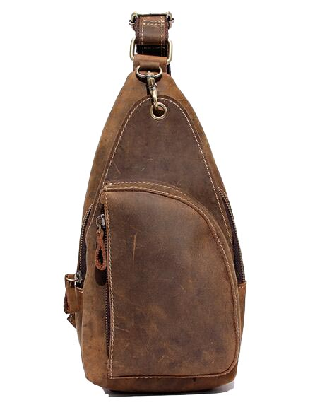 где купить High Quality Vintage Brown Real Crazy Horse Leather Chest Bag Satchel Bag Shoulder Bag for Men по лучшей цене