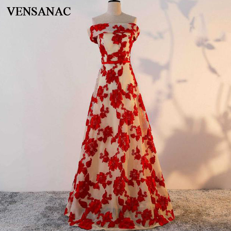 VENSANAC 2018 A Line Embroidery Boat Neck Lace Long   Evening     Dresses   Elegant Party Bow Sash Off The Shoulder Prom Gowns