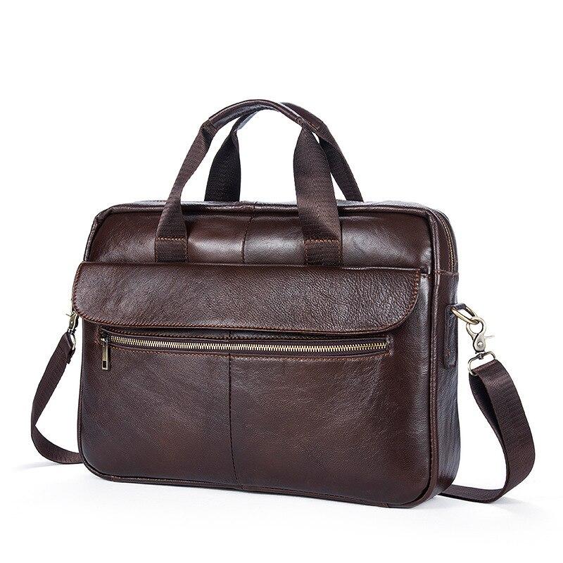 """100% Garantieren Natürliche Echte Leder Männer Aktentasche Vintage Rindsleder Männer Taschen 14 """"zoll Laptoptasche Business Casual Aktentaschen"""