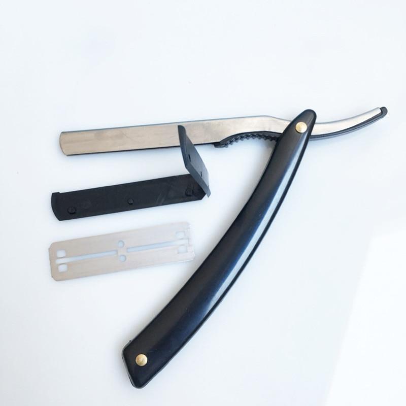 2017 Hot New Black Straight Edge Stainless Steel Barber Razor  Shaving Shave Knife New Folding Shaving Razor Safety Razor