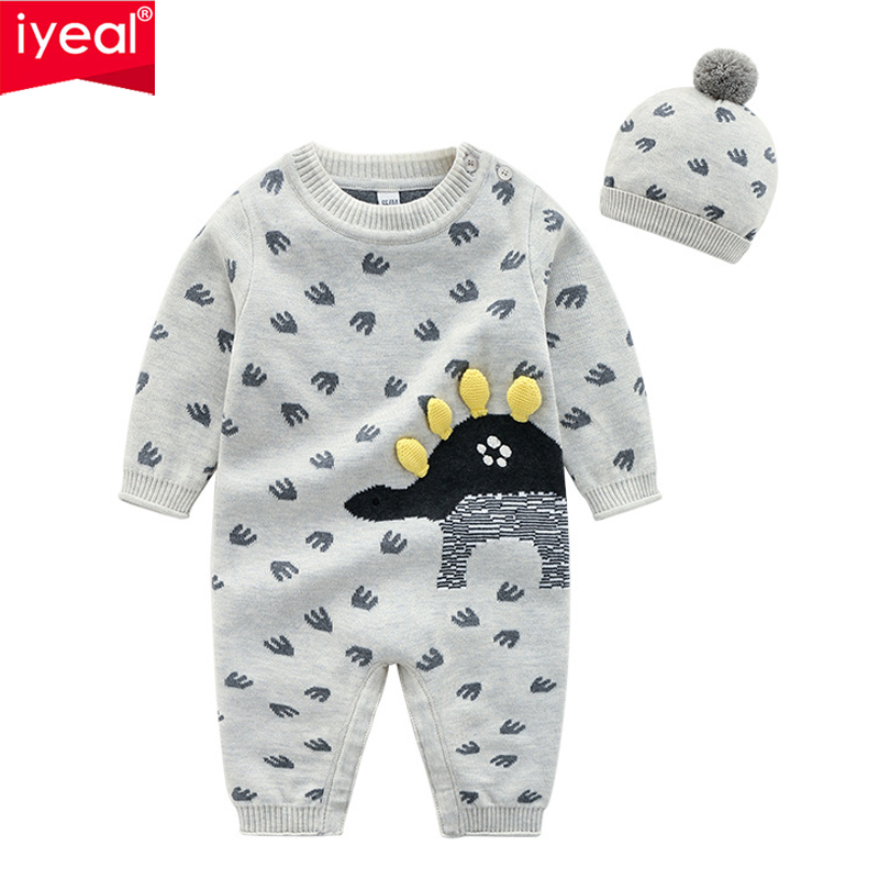 IYEAL Newborn Baby Boys Girl Rompers With Hat Long Sleeve Cartoon Cotton Jumpsuit Kids Toddler Costume 2PCS Baby Clothes 0 18M