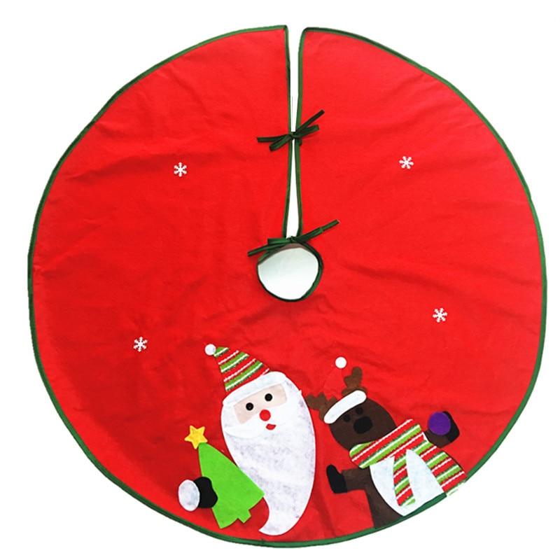 Cute christmas tree skirt red cartoon santa claus elk
