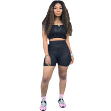 Autumn Knit Rib Sweater Two Piece Set Casual Tunic Crop Top With Shorts Skinny Women Set Sexy Solid Bodycon Knitted Women Outfit
