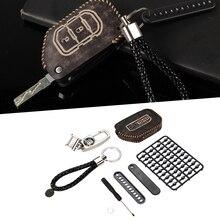 Автомобильный ключ держатель кожаный чехол Ретро стиль брелок подходит для Jeep Wrangler JL 2018 + коричневый/черный Автомобильный ключ чехол