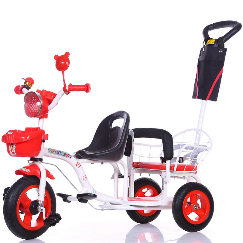 3 wheels Baby Cart with back pushbar, high carbon steel frame Baby Walker, Twins Tricycle with inflatable rubber wheel high quality carbon steel frame twins tricycle 3 air inflatable rubber wheel double seat tricycle with rotation seat