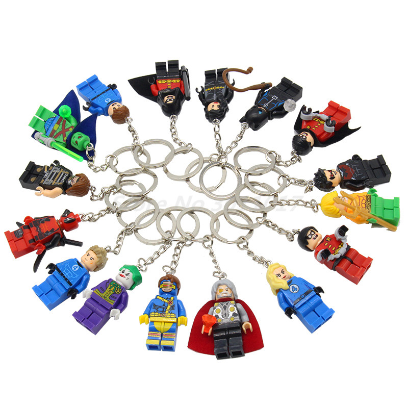 POGO Super Heroes Keychain Building Block The Avengers Toys Key Chain Captain America Justice League Batman Joker Deadpool loz dc comics super heroes mini diamond building block batman