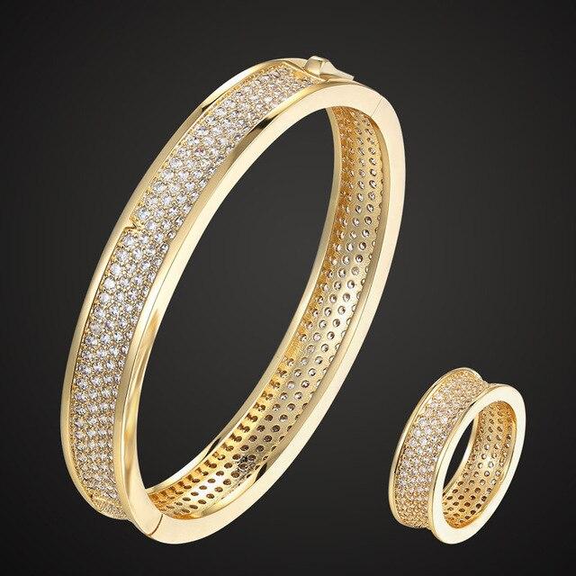Zlxgirl bridal jewelry Cubic Zircon pave setting bangle ring Sets for women bridal accessory sets Messeeka copper bangle sets
