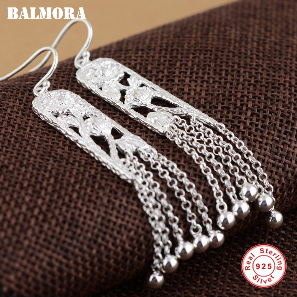 BALMORA 100% Real 925 Sterling Silver Lotus Flower Tassel Earrings for Women Mother Gift Retro Earrings Jewelry Brincos SY21267 цены онлайн