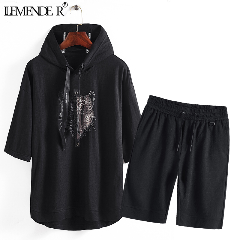 High Quality Mens Tracksuit Shorts Two Piece Sets Tiger Pattern Mens Sweat Suits Loose Men Clothes 2018 Hoodie Sweatshirt+Short ...