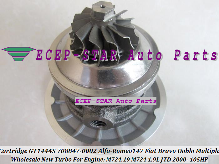 Turbo CHRA Cartridge Turbocharger Core GT1444S 708847-5002S 708847-0002 708847-0001 For Alfa-Romeo 147 Fiat Bravo Doblo Multipla 1.9L JTD 2000- (5)