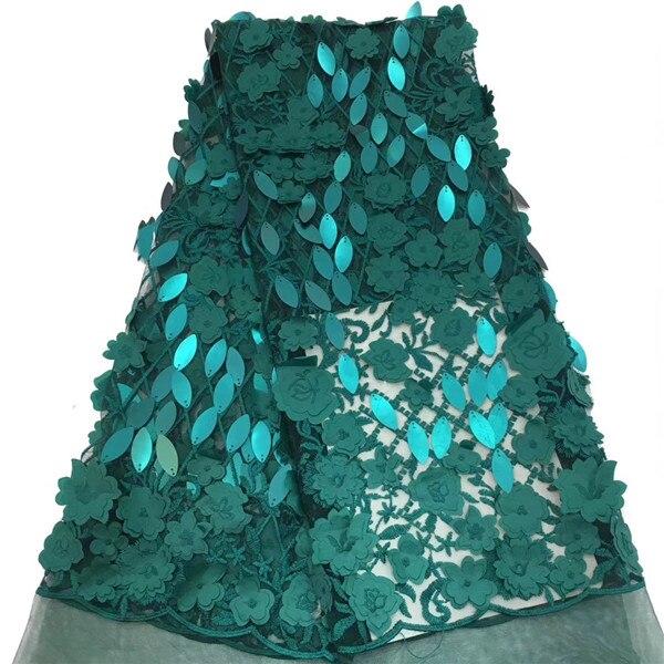 Tissu africain dentelle vert 3D Appliques tissu de haute qualité dentelle perlée tissu africain français Tulle dentelle pour mariage-in Dentelle from Maison & Animalerie    1