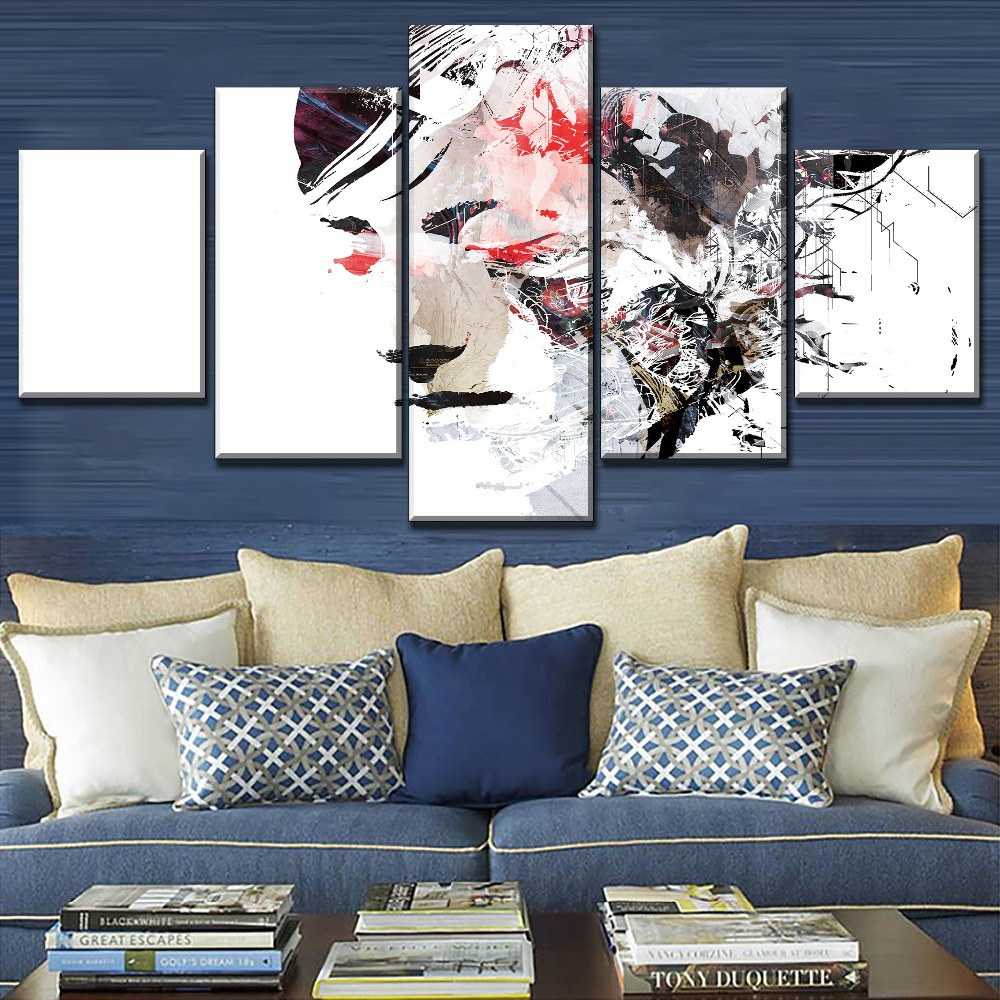 Artistic People Woman Face Abstract Oil Painting On Canvas Print Type One Set 4 Piece Modular Combinatorial Poster Home Decor in Painting Calligraphy from Home Garden