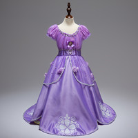 European Style Girl Pleated Dress Princess Sofia Costume Girls Kids Birthday Party Fancy Purple Tutu Cartoon