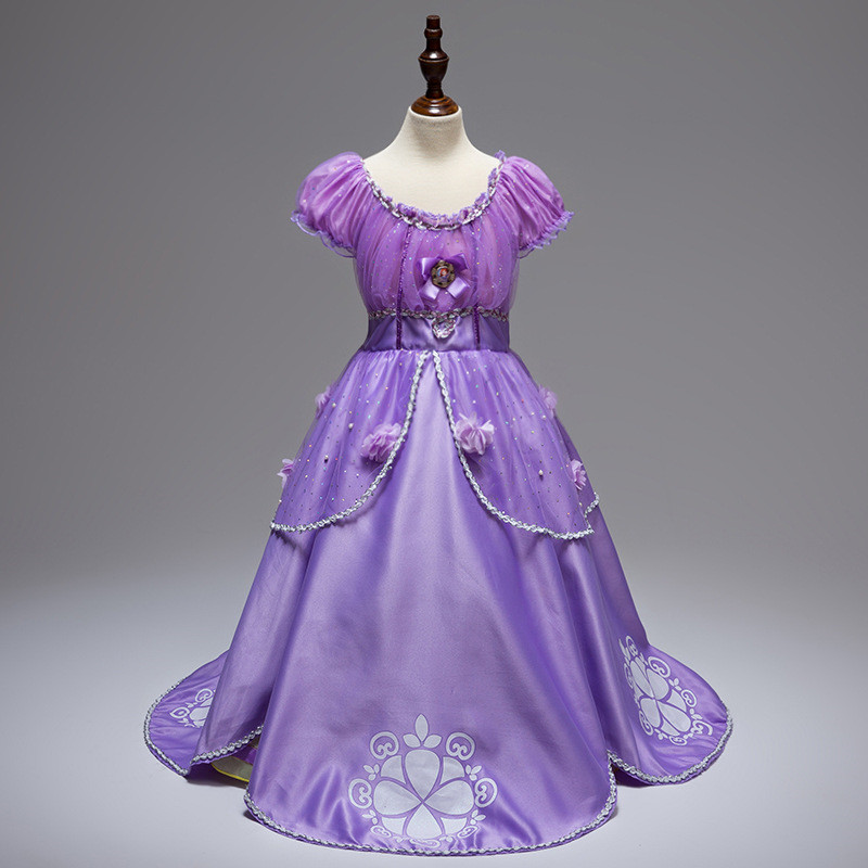 Chica estilo europeo vestido plisado Princesa Sofía traje Niñas ...