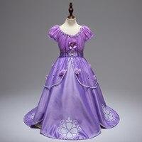 European Style Girl Pleated Dress Princess Sofia Costume Girls Kids Birthday Party Fancy Purple Tutu Cartoon Dress 10 Years
