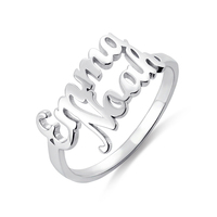 AILIN 925 Sterling Silver Double Name Couple Rings For Lovers Custom Two Names Wedding Rings For Women