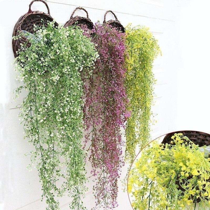 1 pièces en plastique suspendus plantes lierre artificiel feuilles guirlande fleurs grimpantes décoration d'intérieur décoration de fête de Mariage Mariage Faux jardin