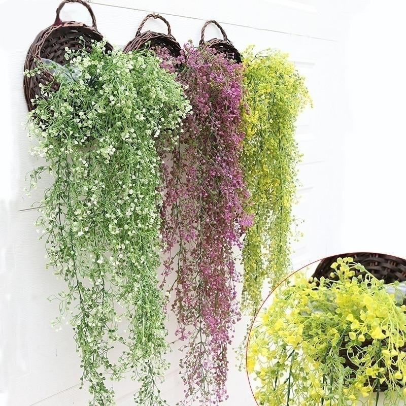 1 piezas de plástico colgando plantas artificiales hojas de hiedra garland vid de La Flor casa decoración de fiesta de boda matrimonio jardín falso