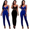Atractivo de las mujeres Negro/Azul Sin Mangas Tirantes Vendaje de Bodycon Del Mono de Las Señoras Pantalones Largos Clubwear Traje de Cuerpo