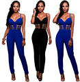 Womens Sexy Black/Blue Sleeveless Suspender Bodycon Jumpsuit Ladies Bandage Long Pants Clubwear Body Suit