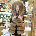 New Best Natural Fur Vest Woman Real Fur Coat For Women's Genuine Raccoon Furs Vests Hooded Fur Jacket Winter Warmest Waistcoat