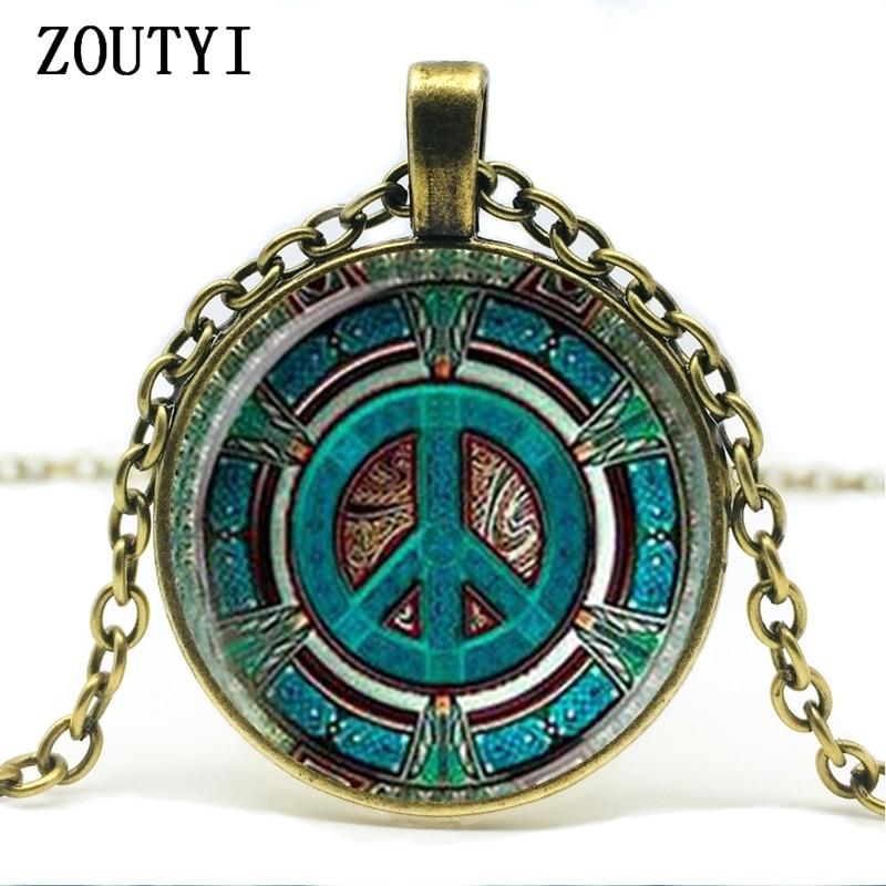 Mens necklace Mandala Flower Silver Glass Pendant Necklace Long Chian Statement Handmade Vintage Necklace Gift.